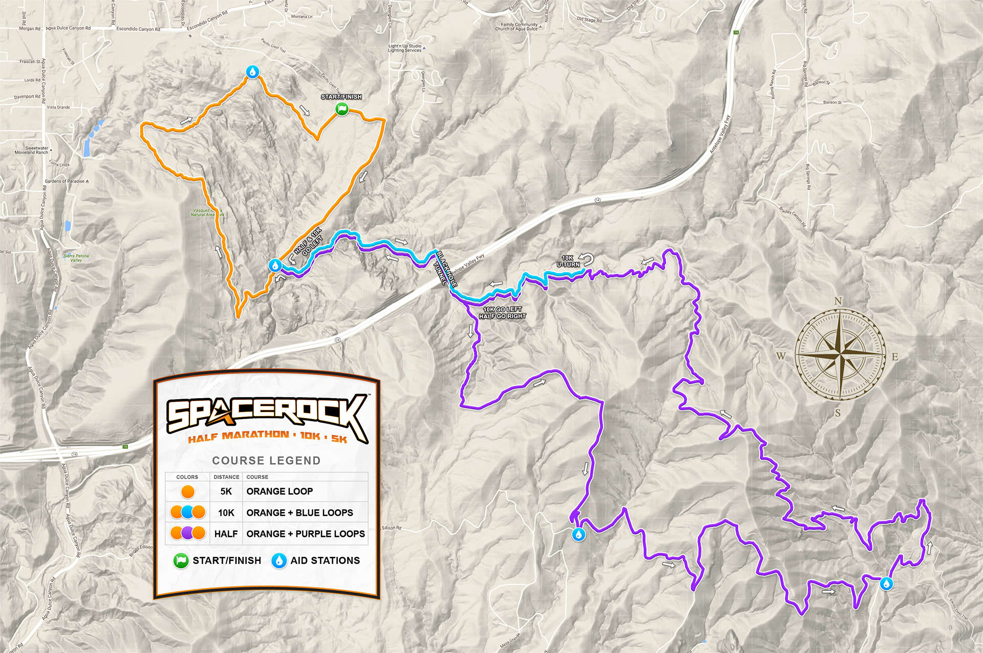 SPACEROCK Trail Race Course Map