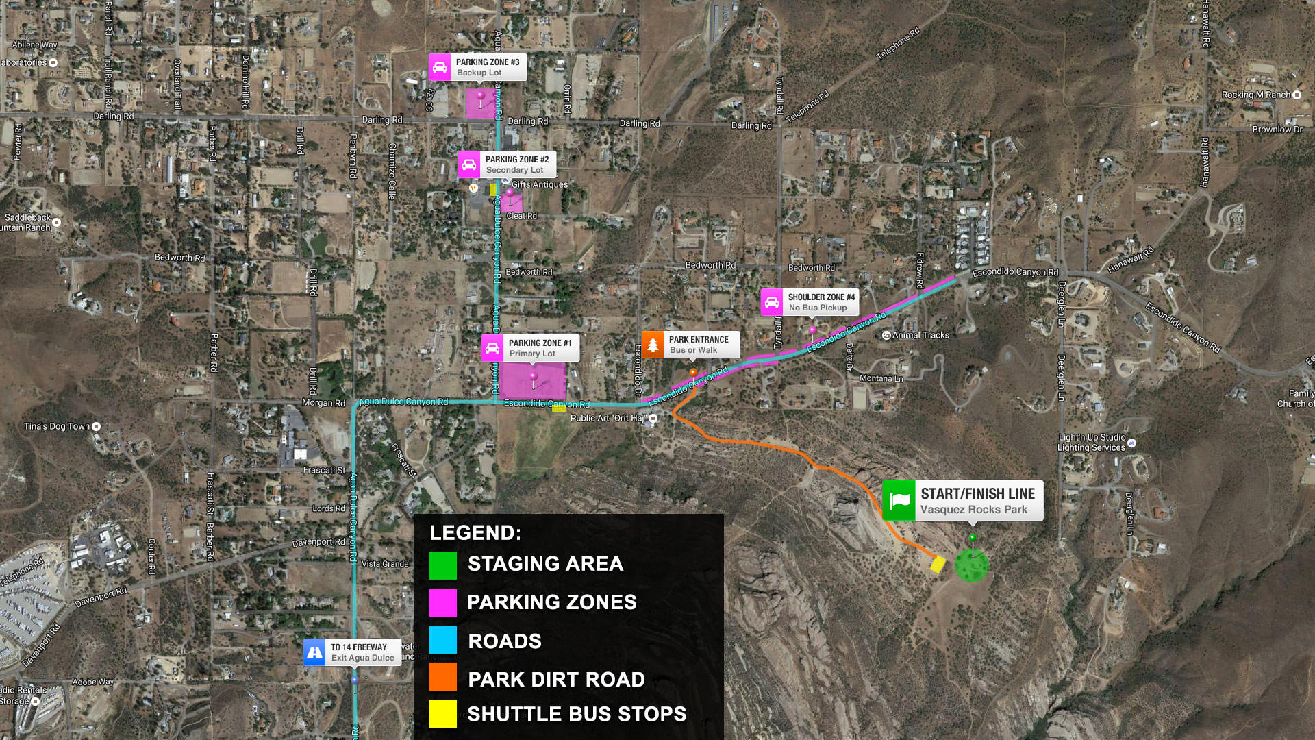 SPACEROCK Trail Race Parking Map