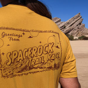 "Back ""Greetings From SPACEROCK Trail Race"" design"